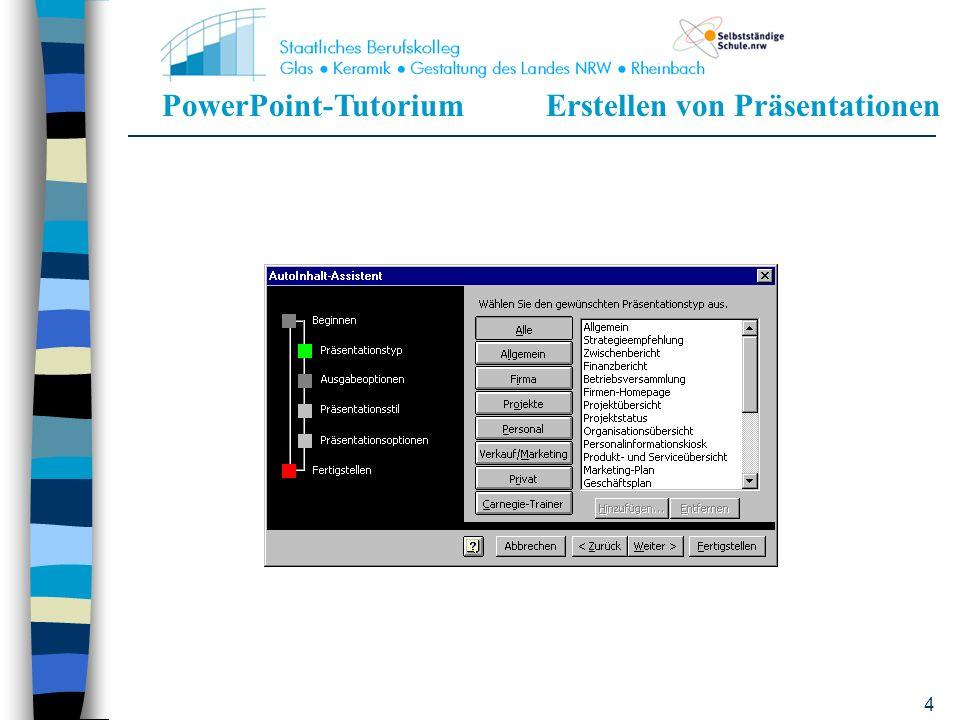 PowerPoint-TutoriumErstellen von Präsentationen 44 Wie erhält man einen Überblick über die einzelnen Folien.