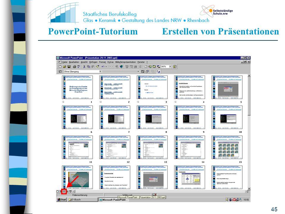 PowerPoint-TutoriumErstellen von Präsentationen 44 Wie erhält man einen Überblick über die einzelnen Folien? Mit der linken Maustaste auf den Button F