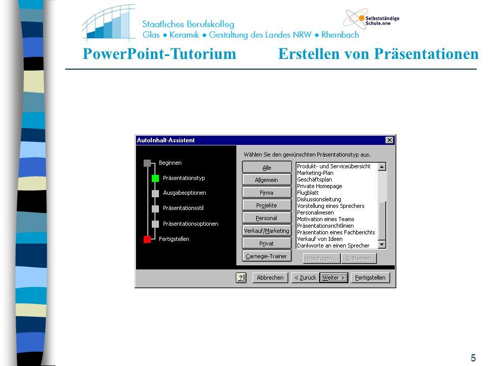 PowerPoint-TutoriumErstellen von Präsentationen 15 Präsentationsvorlage Für jegliche Präsentation sehr empfehlenswert Erleichtert die Arbeit Hiermit erstellt man das Briefpapier einer Präsentation