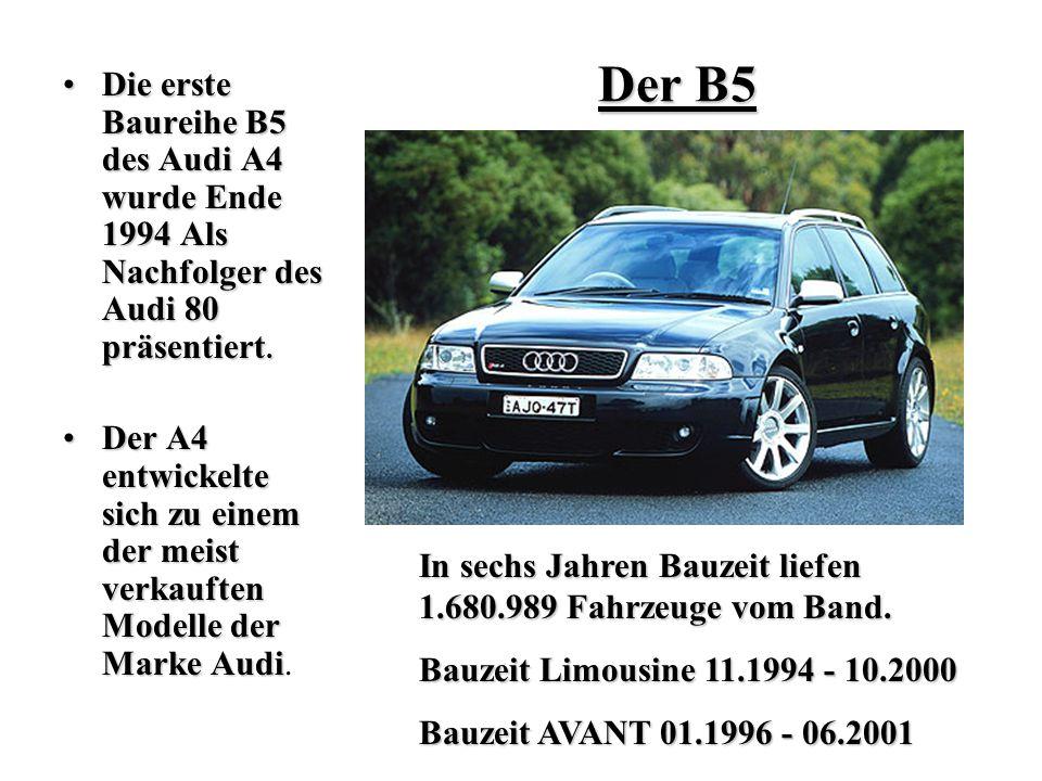 Die erste Baureihe B5 des Audi A4 wurde Ende 1994 Als Nachfolger des Audi 80 präsentiert.Die erste Baureihe B5 des Audi A4 wurde Ende 1994 Als Nachfol