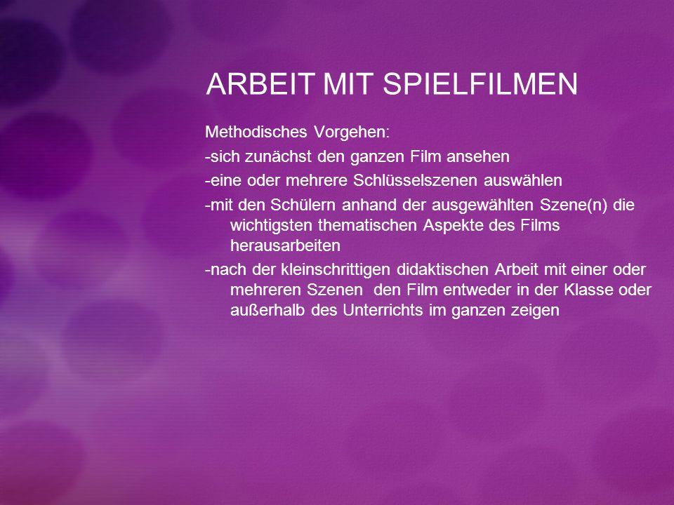 ARBEIT MIT SPIELFILMEN Methodisches Vorgehen: -sich zunächst den ganzen Film ansehen -eine oder mehrere Schlüsselszenen auswählen -mit den Schülern an