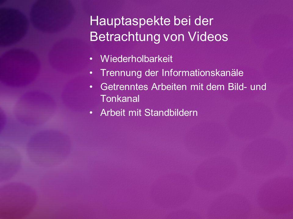 Hauptaspekte bei der Betrachtung von Videos Wiederholbarkeit Trennung der Informationskanäle Getrenntes Arbeiten mit dem Bild- und Tonkanal Arbeit mit Standbildern
