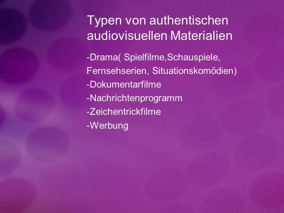 Typen von authentischen audiovisuellen Materialien -Drama( Spielfilme,Schauspiele, Fernsehserien, Situationskomödien) -Dokumentarfilme -Nachrichtenpro