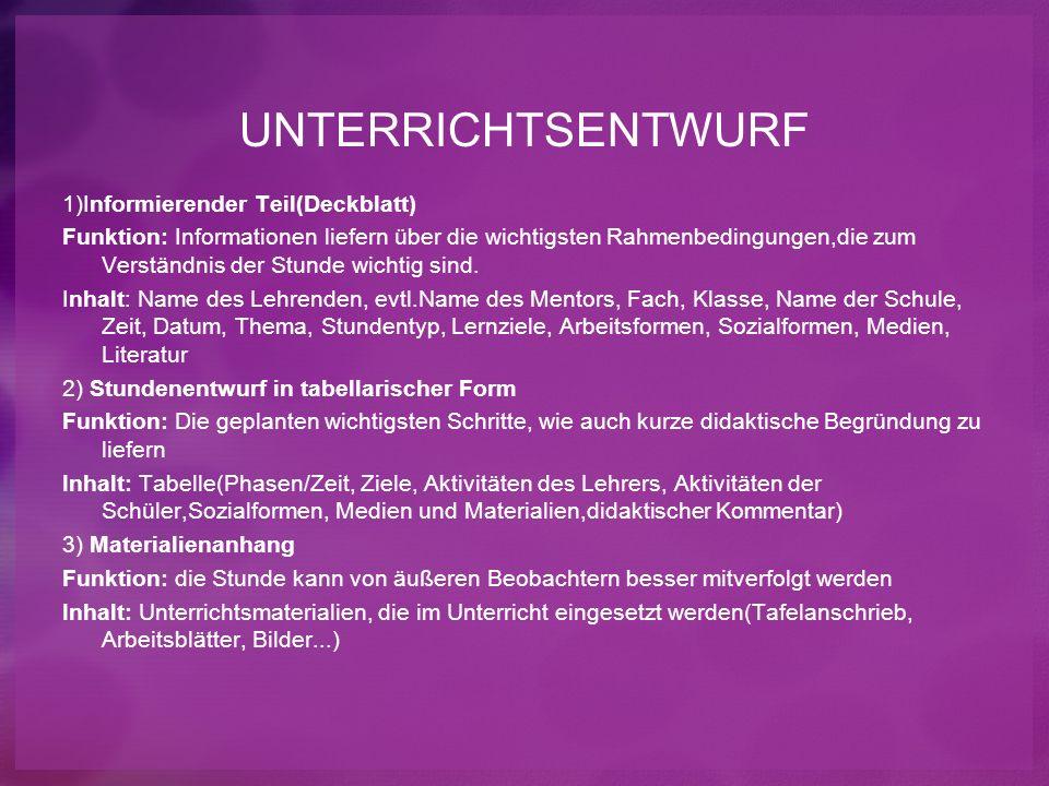 UNTERRICHTSENTWURF 1)Informierender Teil(Deckblatt) Funktion: Informationen liefern über die wichtigsten Rahmenbedingungen,die zum Verständnis der Stu