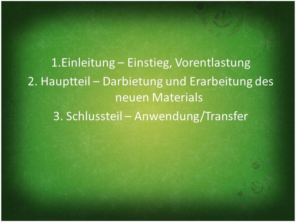 1.Einleitung – Einstieg, Vorentlastung 2.