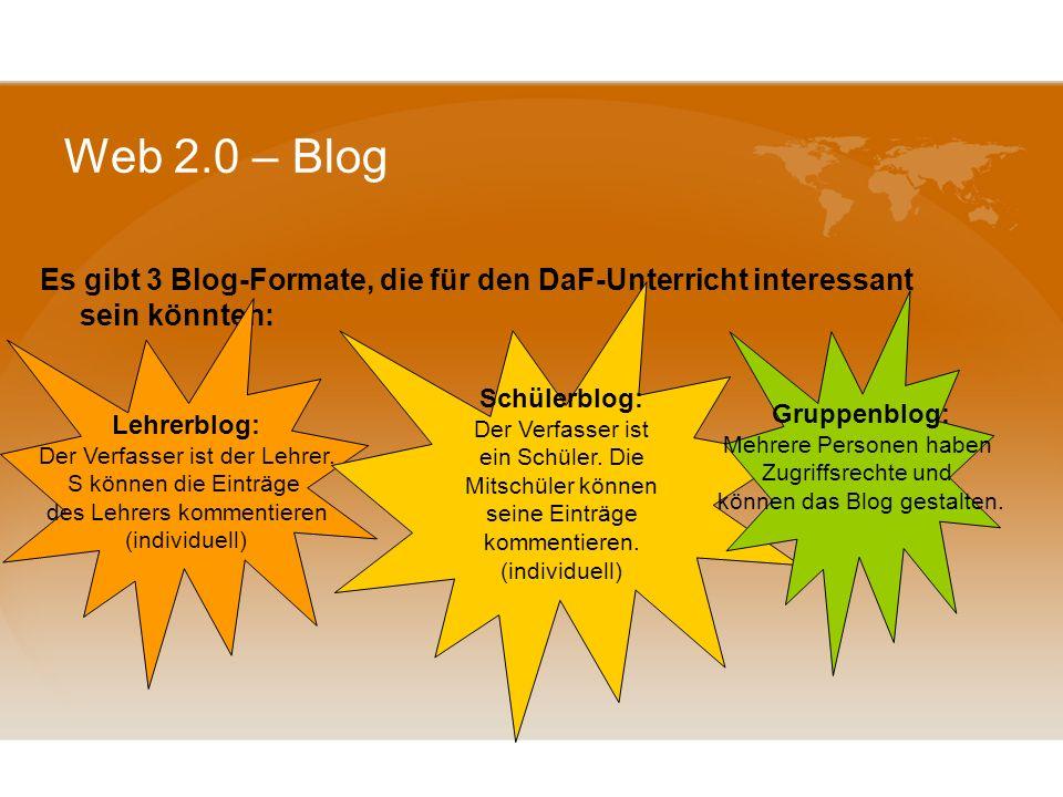 Web 2.0 – Blog Blogs - persönliche Tagebücher; Festhalten von Erlebtem, eigenen Ideen oder Gedanken. Häufig Erweiterung oder Ergänzung durch eingefügt
