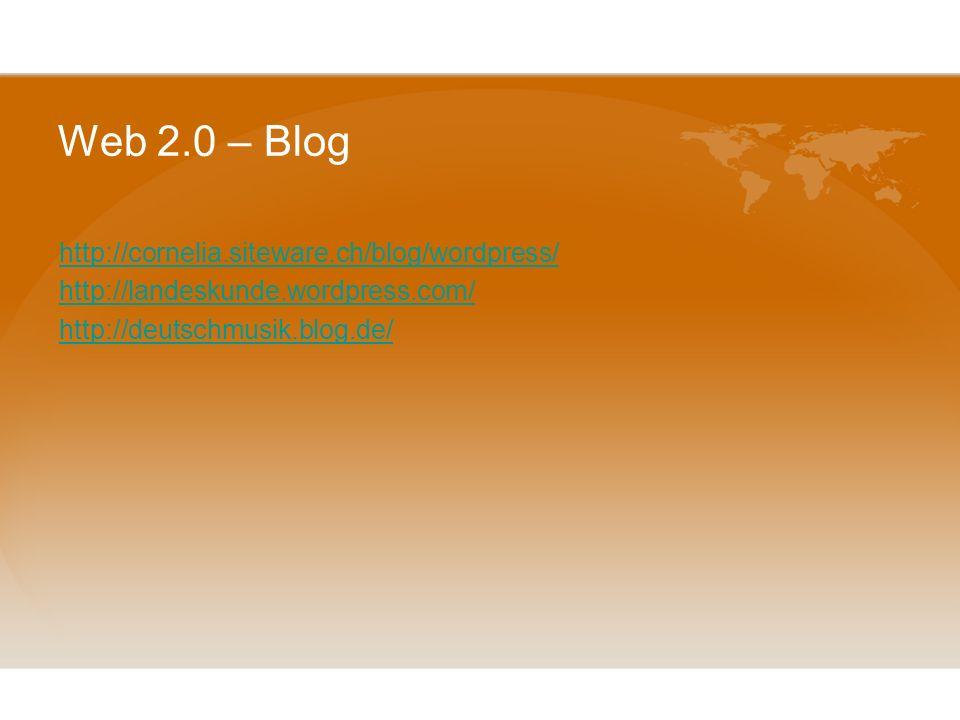 Web 2.0 – Blog Es gibt 3 Blog-Formate, die für den DaF-Unterricht interessant sein könnten: Lehrerblog: Der Verfasser ist der Lehrer. S können die Ein