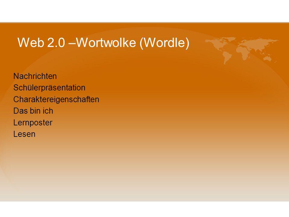 Web 2.0 –Wortwolke (Wordle) -eine Methode zur Informationsvisualisierung(graphische Darstellung eines Textes). Je wichtiger ein Wort ist(je öfter es v