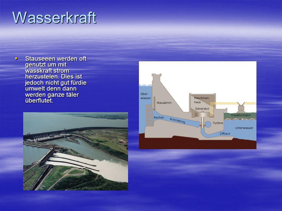 Wasserkraft Stauseeen werden oft genutzt um mit wasskraft strom herzustelen. Dies ist jedoch nicht gut fürdie umwelt denn dann werden ganze täler über