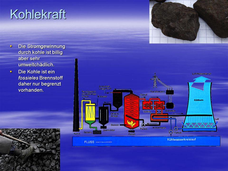 Kohlekraft Die Stromgewinnung durch kohle ist billig aber sehr umweltchädlich. Die Stromgewinnung durch kohle ist billig aber sehr umweltchädlich. Die