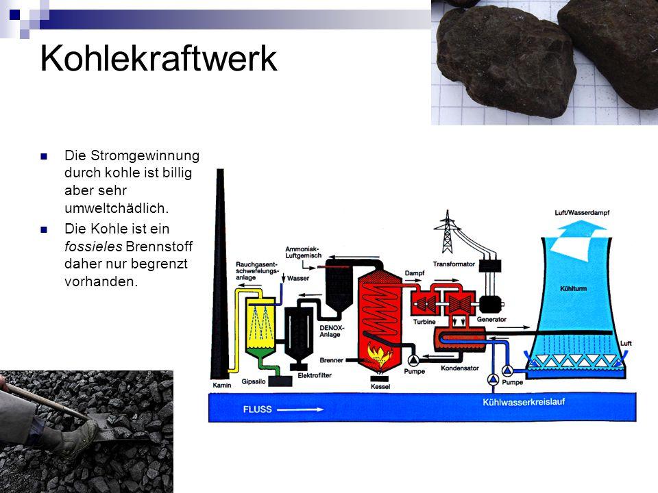 Kohlekraftwerk Die Stromgewinnung durch kohle ist billig aber sehr umweltchädlich. Die Kohle ist ein fossieles Brennstoff daher nur begrenzt vorhanden