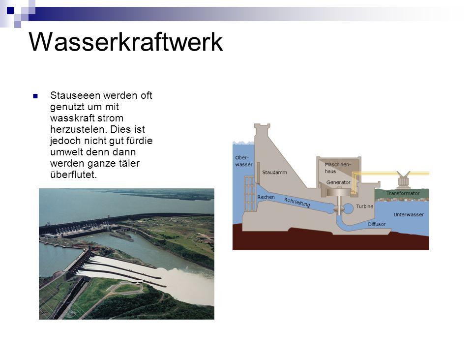 Wasserkraftwerk Stauseeen werden oft genutzt um mit wasskraft strom herzustelen. Dies ist jedoch nicht gut fürdie umwelt denn dann werden ganze täler
