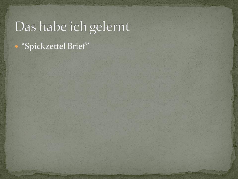 Spickzettel Brief