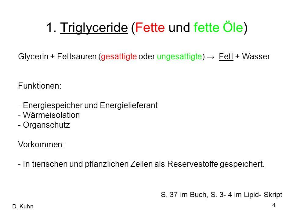 D. Kuhn 4 Glycerin + Fettsäuren (gesättigte oder ungesättigte) Fett + Wasser Funktionen: - Energiespeicher und Energielieferant - Wärmeisolation - Org