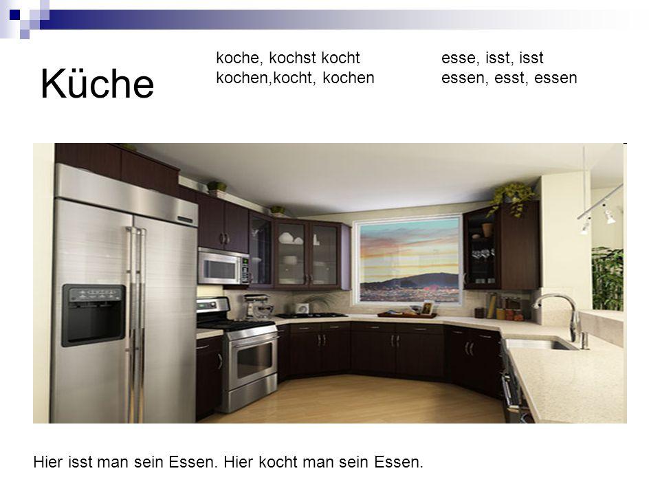 Küche Hier isst man sein Essen. Hier kocht man sein Essen. koche, kochst kocht kochen,kocht, kochen esse, isst, isst essen, esst, essen