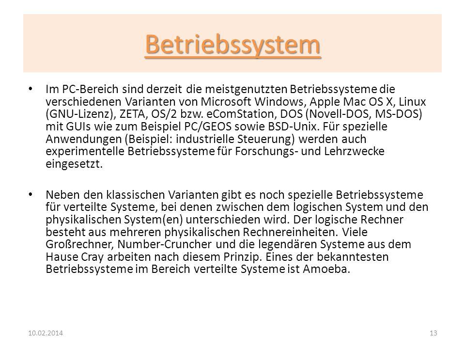Betriebssystem Im PC-Bereich sind derzeit die meistgenutzten Betriebssysteme die verschiedenen Varianten von Microsoft Windows, Apple Mac OS X, Linux