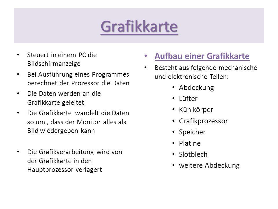 Grafikkarte Steuert in einem PC die Bildschirmanzeige Bei Ausführung eines Programmes berechnet der Prozessor die Daten Die Daten werden an die Grafik