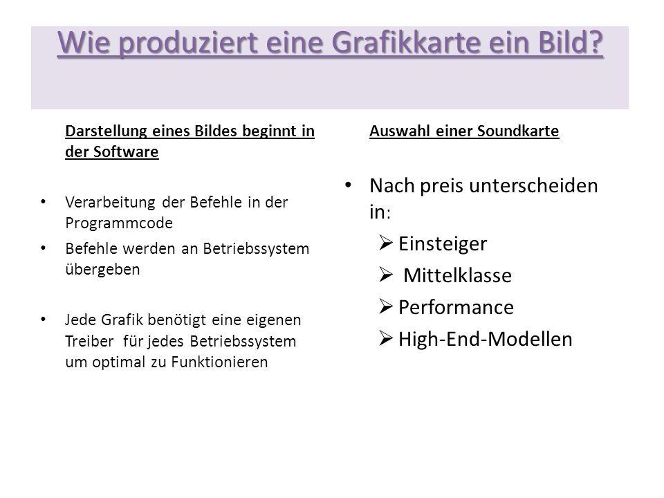Wie produziert eine Grafikkarte ein Bild? Darstellung eines Bildes beginnt in der Software Verarbeitung der Befehle in der Programmcode Befehle werden