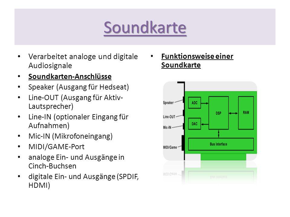 Soundkarte Verarbeitet analoge und digitale Audiosignale Soundkarten-Anschlüsse Speaker (Ausgang für Hedseat) Line-OUT (Ausgang für Aktiv- Lautspreche