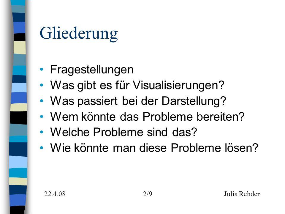 Gliederung Fragestellungen Was gibt es für Visualisierungen.