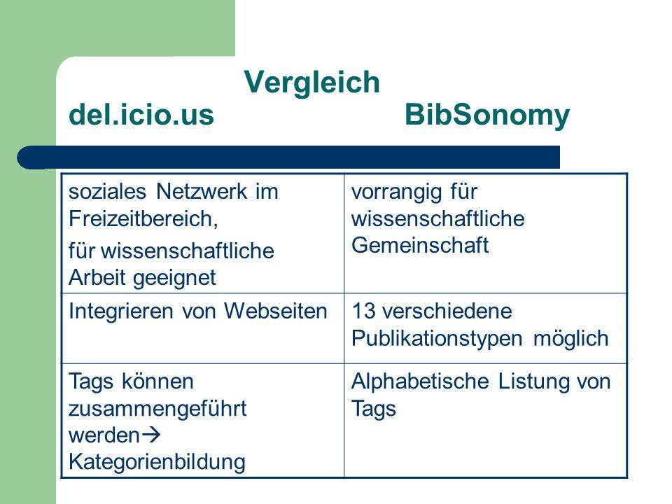Vergleich del.icio.us BibSonomy soziales Netzwerk im Freizeitbereich, für wissenschaftliche Arbeit geeignet vorrangig für wissenschaftliche Gemeinscha