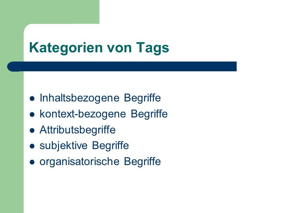 Kategorien von Tags Inhaltsbezogene Begriffe kontext-bezogene Begriffe Attributsbegriffe subjektive Begriffe organisatorische Begriffe