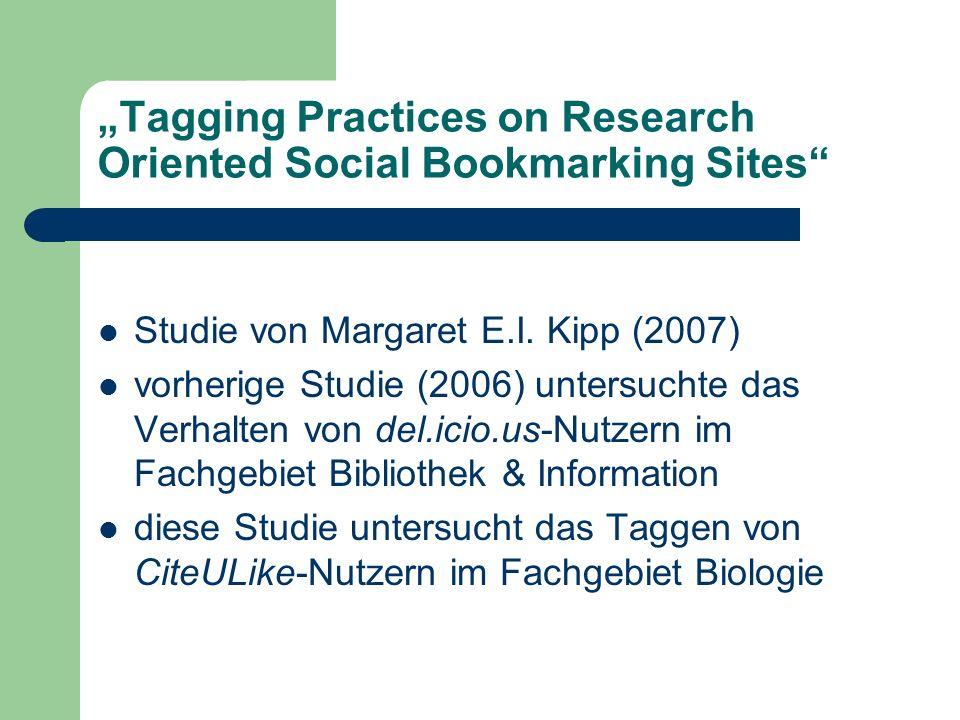 Tagging Practices on Research Oriented Social Bookmarking Sites Studie von Margaret E.I. Kipp (2007) vorherige Studie (2006) untersuchte das Verhalten
