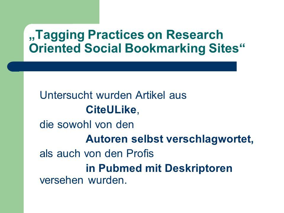 Tagging Practices on Research Oriented Social Bookmarking Sites 1083 ausgewählte Artikel wurden von den Nutzern 1588-mal gepostet 239 Nutzer sehr unterschiedliches Verhalten: 1 Nutzer 94 Einträge 94 Nutzer 1 Eintrag 42 Nutzer 10 oder mehr Einträge