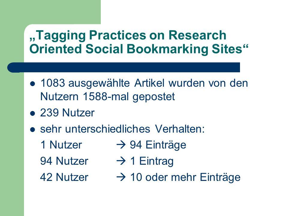 Tagging Practices on Research Oriented Social Bookmarking Sites Anzahl von Nutzern für einen Artikel: Maximum 14, Minimum 1, im Durchschnitt 2 799 Artikel wurden nur 1x gepostet Anzahl der Autoren pro Artikel: 1-48 Personen, über 80 % 2-5 Autoren