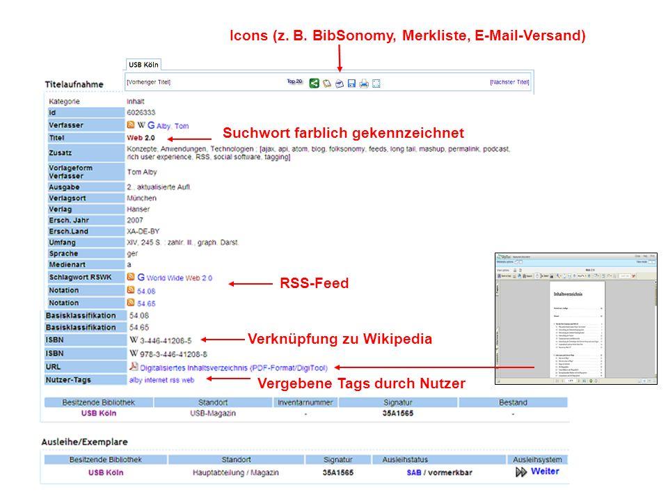 Verknüpfung zu Wikipedia Vergebene Tags durch Nutzer Icons (z.