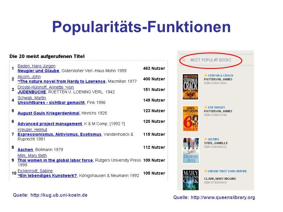 Popularitäts-Funktionen Quelle: http://www.queenslibrary.org Quelle: http://kug.ub.uni-koeln.de