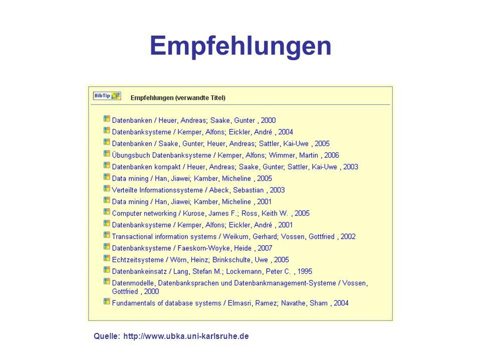 Empfehlungen Quelle: http://www.ubka.uni-karlsruhe.de