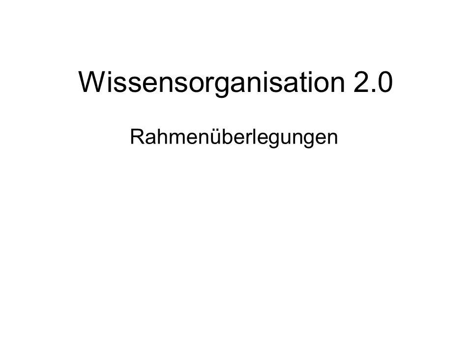 Wissensorganisation 2.0 Rahmenüberlegungen