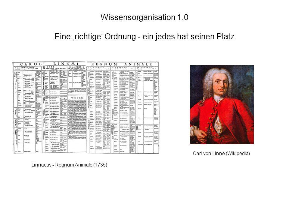 Wissensorganisation 1.0 Eine richtige Ordnung - ein jedes hat seinen Platz Carl von Linné (Wikipedia) Linnaeus - Regnum Animale (1735)