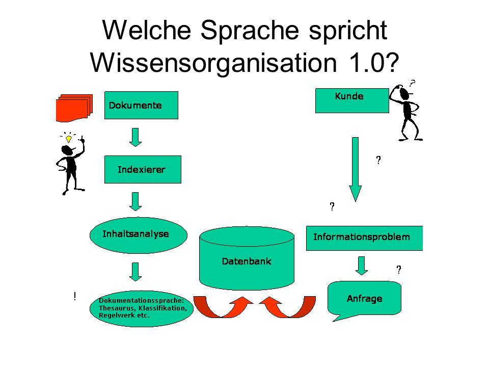 Welche Sprache spricht Wissensorganisation 1.0?