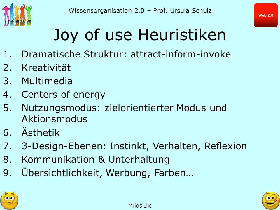 Wissensorganisation 2.0 – Prof. Ursula Schulz Joy of use Heuristiken Milos Ilic 1.Dramatische Struktur: attract-inform-invoke 2.Kreativität 3.Multimed