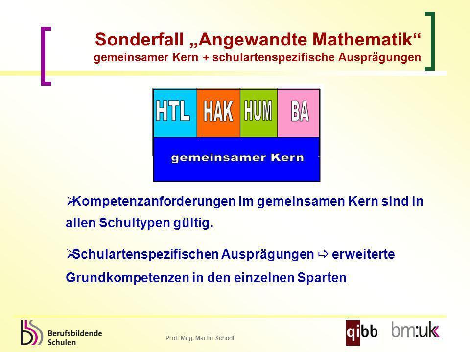 Prof. Mag. Martin Schodl Kompetenzanforderungen im gemeinsamen Kern sind in allen Schultypen gültig. Schulartenspezifischen Ausprägungen erweiterte Gr