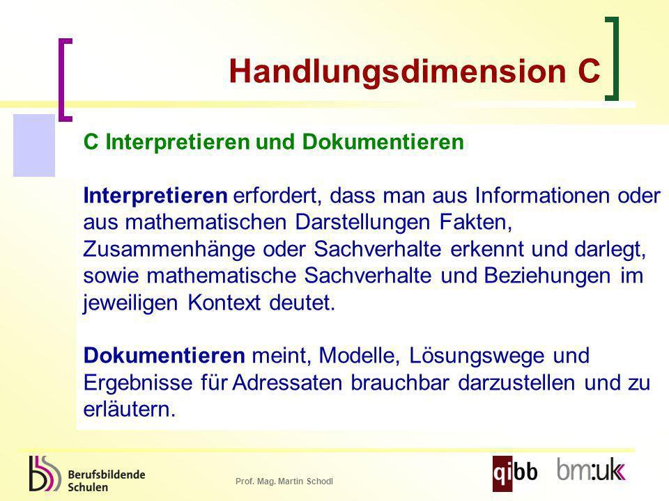 Prof. Mag. Martin Schodl C Interpretieren und Dokumentieren Interpretieren erfordert, dass man aus Informationen oder aus mathematischen Darstellungen