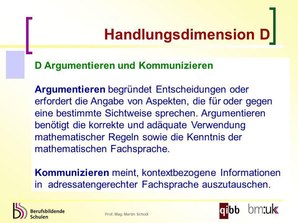 Prof. Mag. Martin Schodl D Argumentieren und Kommunizieren Argumentieren begründet Entscheidungen oder erfordert die Angabe von Aspekten, die für oder