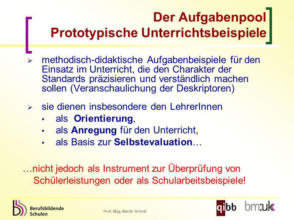 Prof. Mag. Martin Schodl Der Aufgabenpool Prototypische Unterrichtsbeispiele methodisch-didaktische Aufgabenbeispiele für den Einsatz im Unterricht, d