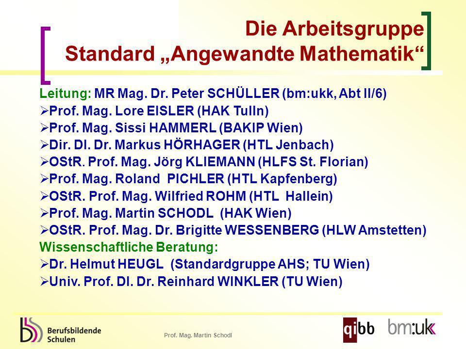 Prof. Mag. Martin Schodl Leitung: MR Mag. Dr. Peter SCHÜLLER (bm:ukk, Abt II/6) Prof. Mag. Lore EISLER (HAK Tulln) Prof. Mag. Sissi HAMMERL (BAKIP Wie