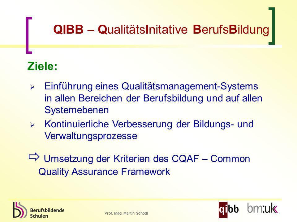Prof. Mag. Martin Schodl QIBB – QualitätsInitative BerufsBildung Ziele: Einführung eines Qualitätsmanagement-Systems in allen Bereichen der Berufsbild