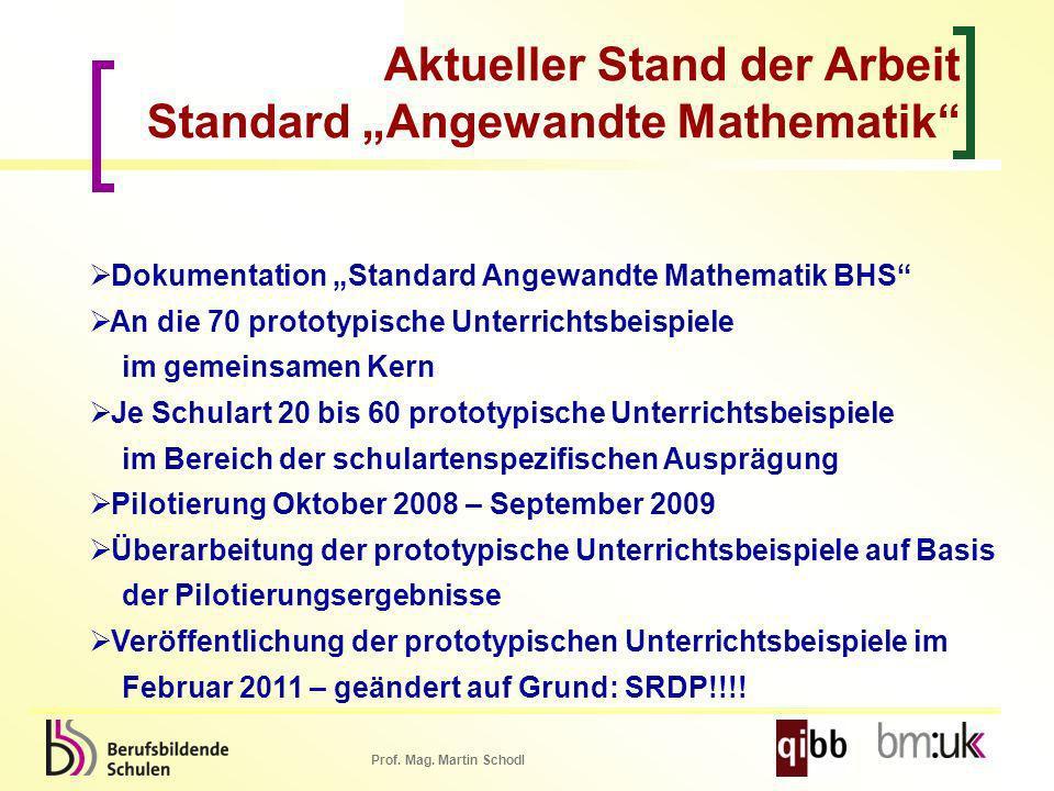Prof. Mag. Martin Schodl Dokumentation Standard Angewandte Mathematik BHS An die 70 prototypische Unterrichtsbeispiele im gemeinsamen Kern Je Schulart