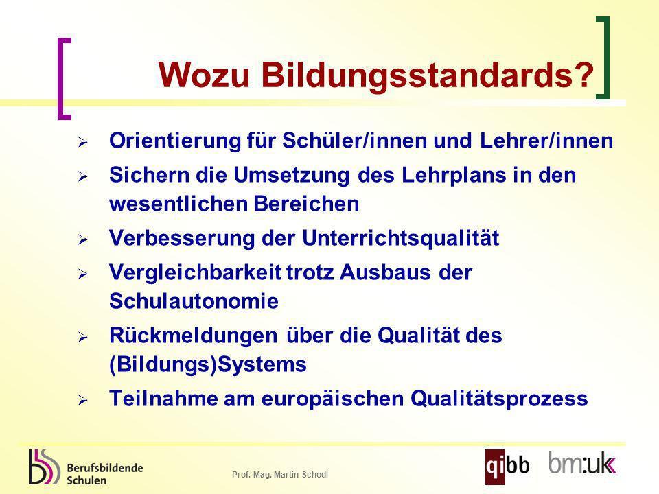 Prof. Mag. Martin Schodl Wozu Bildungsstandards? Orientierung für Schüler/innen und Lehrer/innen Sichern die Umsetzung des Lehrplans in den wesentlich