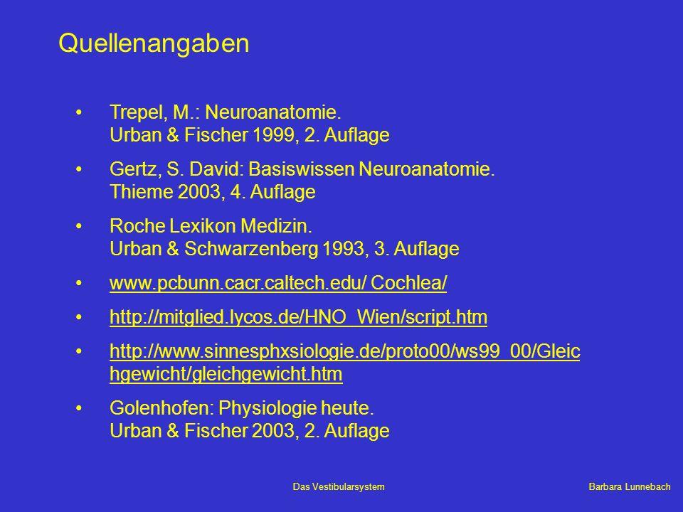 Barbara LunnebachDas Vestibularsystem Quellenangaben Trepel, M.: Neuroanatomie. Urban & Fischer 1999, 2. Auflage Gertz, S. David: Basiswissen Neuroana