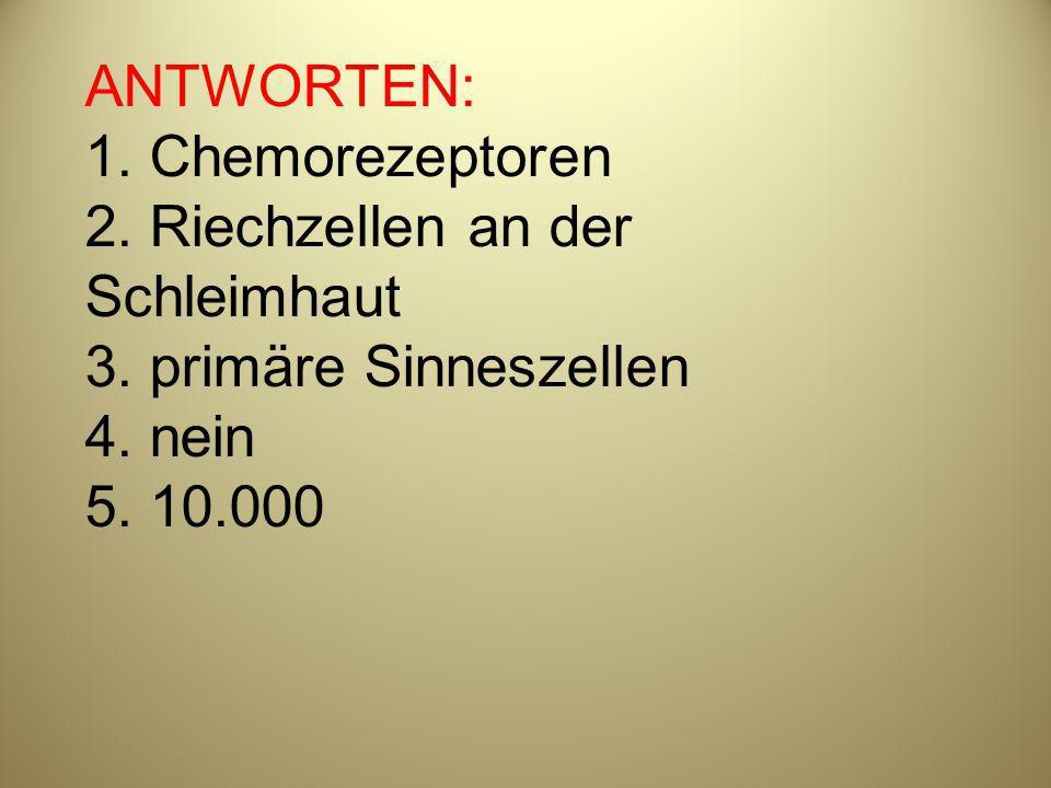 ANTWORTEN: 1. Chemorezeptoren 2. Riechzellen an der Schleimhaut 3. primäre Sinneszellen 4. nein 5. 10.000