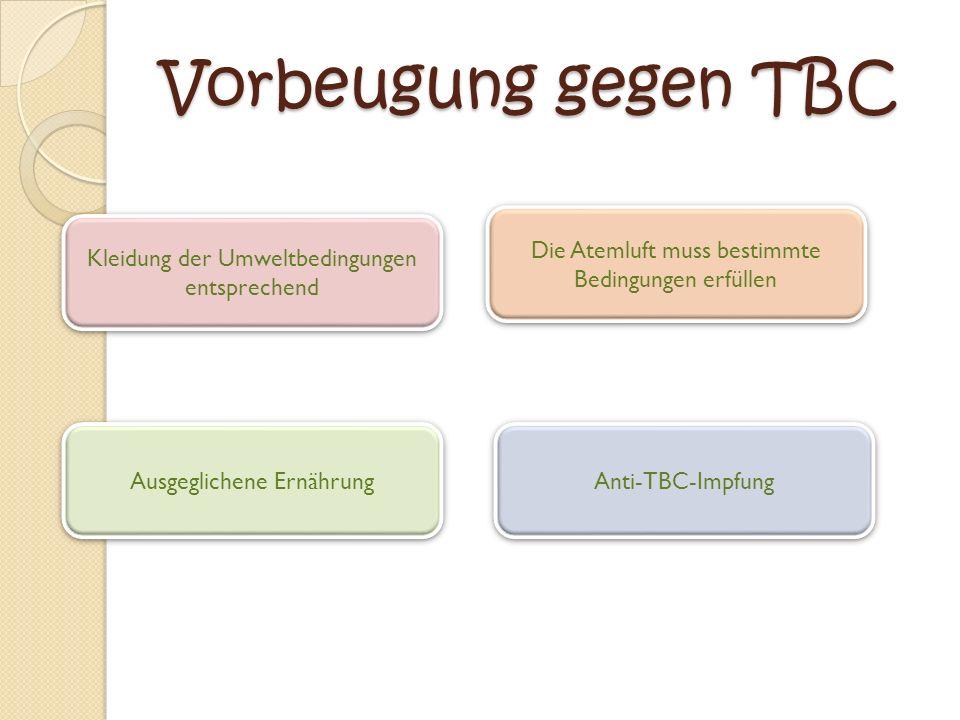 Vorbeugung gegen TBC Kleidung der Umweltbedingungen entsprechend Kleidung der Umweltbedingungen entsprechend Anti-TBC-Impfung Ausgeglichene Ernährung Ausgeglichene Ernährung Die Atemluft muss bestimmte Bedingungen erfüllen Die Atemluft muss bestimmte Bedingungen erfüllen