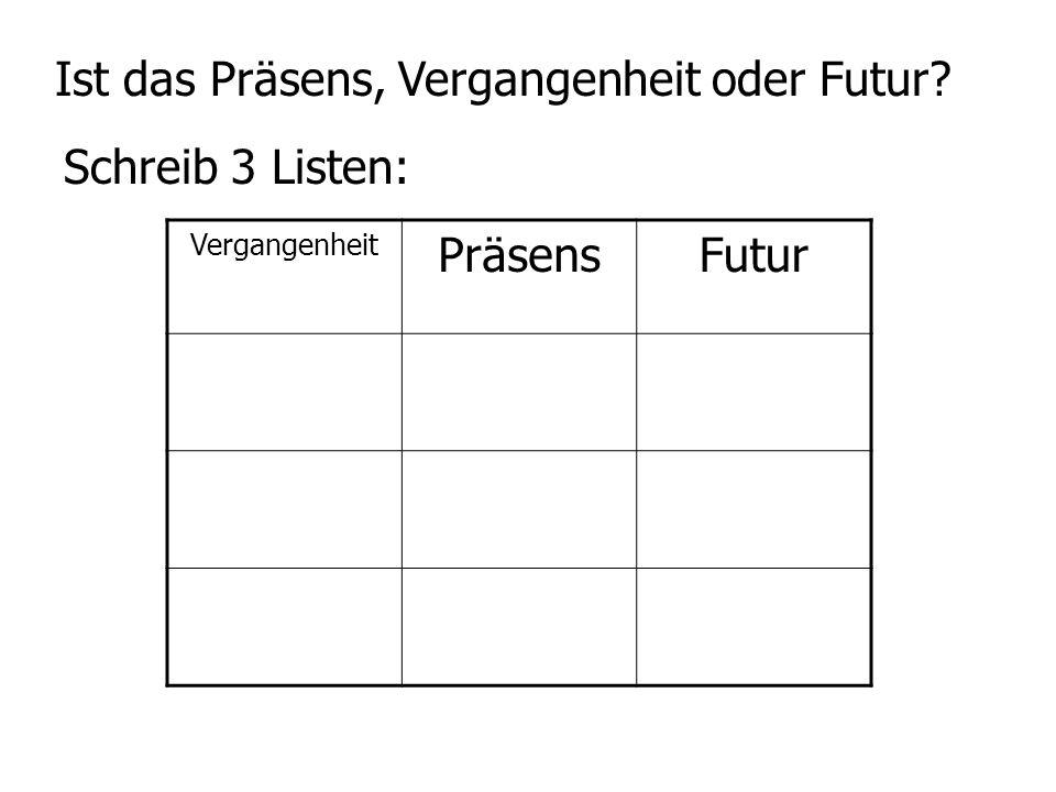 Ist das Präsens, Vergangenheit oder Futur? Schreib 3 Listen: Vergangenheit PräsensFutur