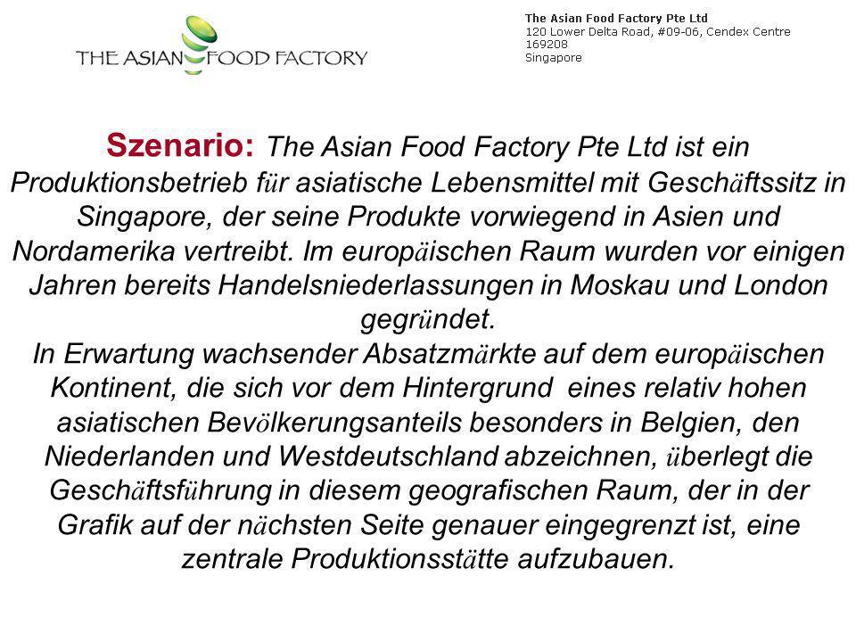 Szenario: The Asian Food Factory Pte Ltd ist ein Produktionsbetrieb f ü r asiatische Lebensmittel mit Gesch ä ftssitz in Singapore, der seine Produkte vorwiegend in Asien und Nordamerika vertreibt.