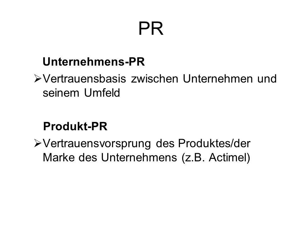 PR Unternehmens-PR Vertrauensbasis zwischen Unternehmen und seinem Umfeld Produkt-PR Vertrauensvorsprung des Produktes/der Marke des Unternehmens (z.B